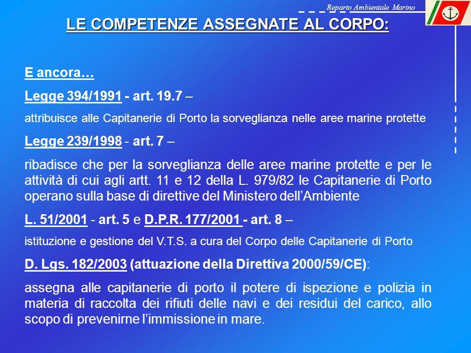 Reparto Ambientale Marino LE COMPETENZE ASSEGNATE AL CORPO: E ancora… Legge 394/1991 - art. 19.7 – attribuisce alle Capitanerie di Porto la sorveglian