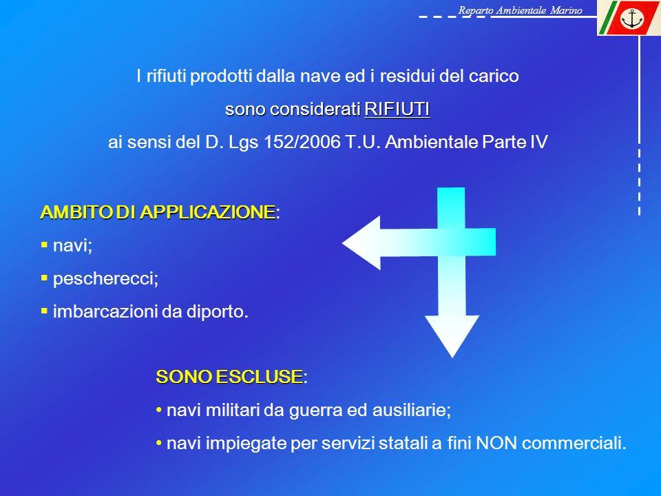 I rifiuti prodotti dalla nave ed i residui del carico sono considerati RIFIUTI ai sensi del D. Lgs 152/2006 T.U. Ambientale Parte IV AMBITO DI APPLICA