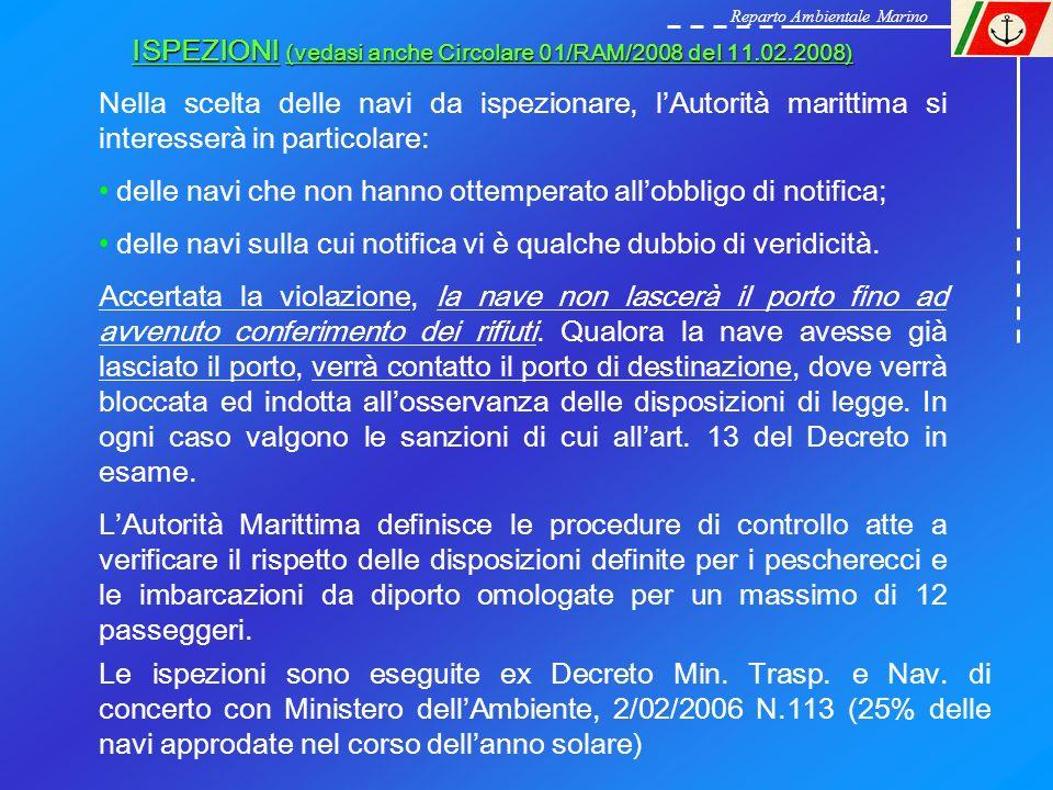 ISPEZIONI (vedasi anche Circolare 01/RAM/2008 del 11.02.2008) Nella scelta delle navi da ispezionare, lAutorità marittima si interesserà in particolar