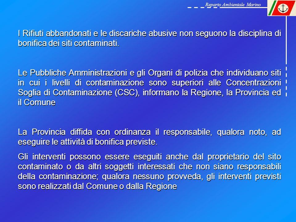 Reparto Ambientale Marino I Rifiuti abbandonati e le discariche abusive non seguono la disciplina di bonifica dei siti contaminati. Le Pubbliche Ammin