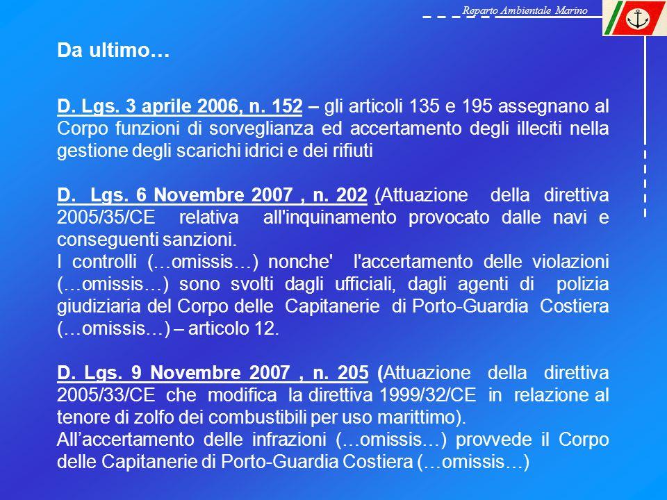 Reparto Ambientale Marino (R.A.M.) del Corpo delle Capitanerie di Porto Con la legge 31 luglio 2002, n 179 è stato istituito il Reparto Ambientale Marino (R.A.M.) del Corpo delle Capitanerie di Porto.