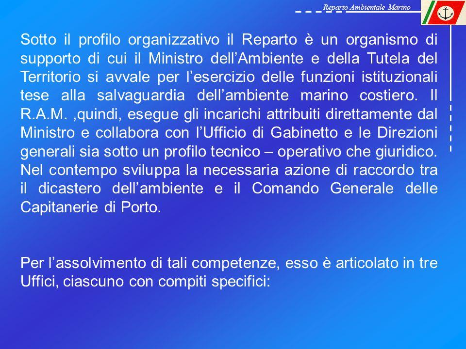 Reparto Ambientale Marino Sotto il profilo organizzativo il Reparto è un organismo di supporto di cui il Ministro dellAmbiente e della Tutela del Terr