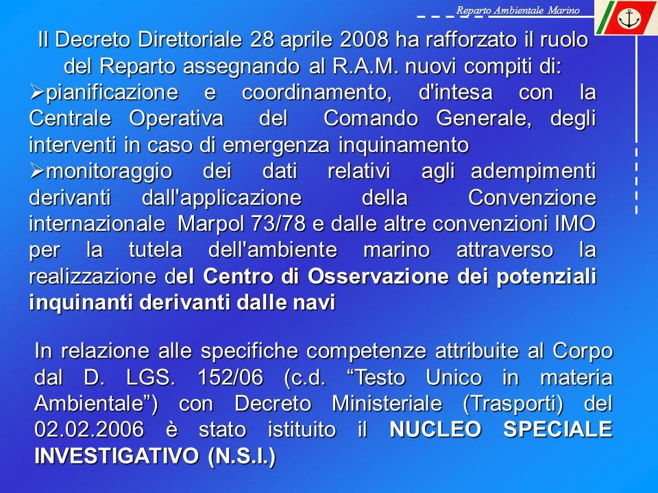 Reparto Ambientale Marino Il Decreto Direttoriale 28 aprile 2008 ha rafforzato il ruolo del Reparto assegnando al R.A.M. nuovi compiti di: pianificazi