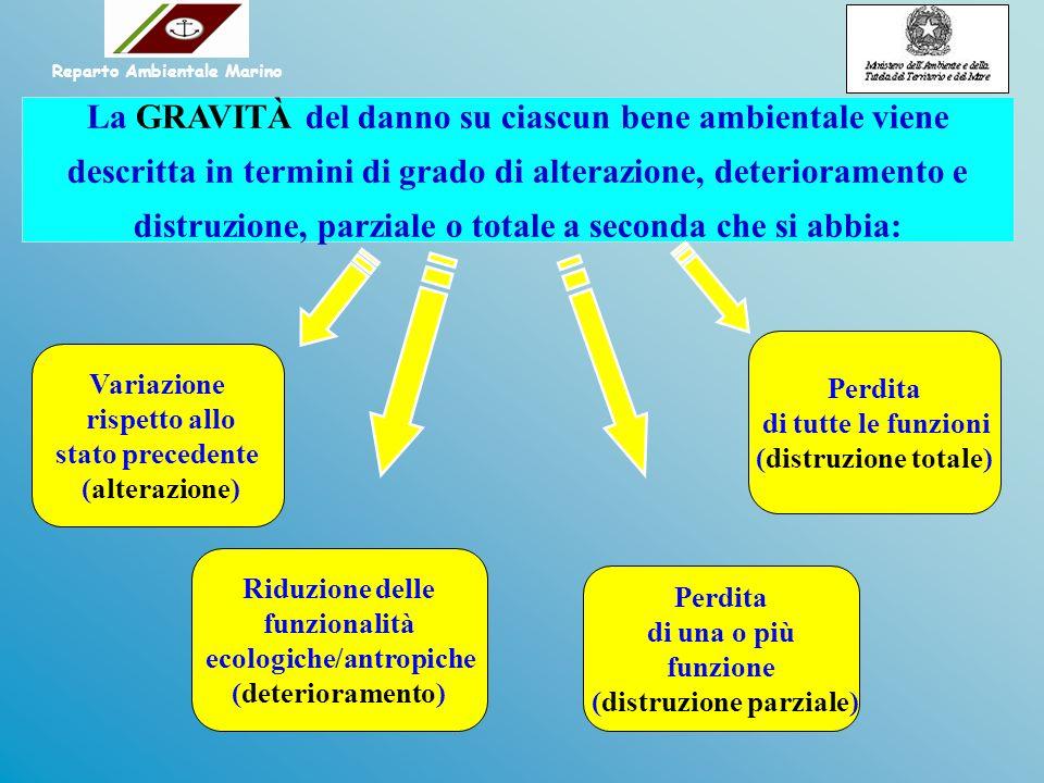 La GRAVITÀ del danno su ciascun bene ambientale viene descritta in termini di grado di alterazione, deterioramento e distruzione, parziale o totale a