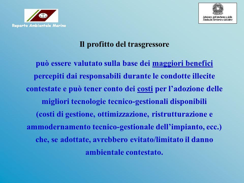 Il profitto del trasgressore può essere valutato sulla base dei maggiori benefici percepiti dai responsabili durante le condotte illecite contestate e