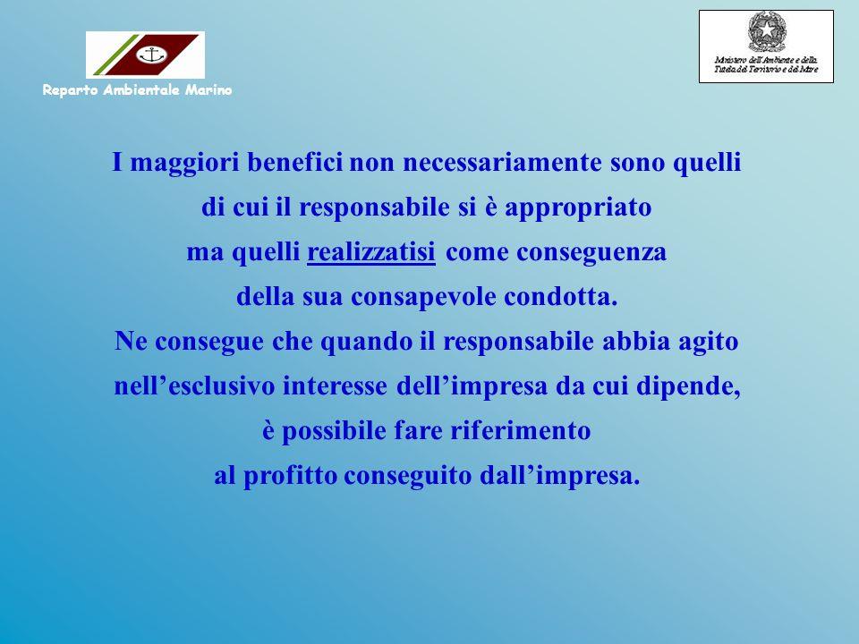 I maggiori benefici non necessariamente sono quelli di cui il responsabile si è appropriato ma quelli realizzatisi come conseguenza della sua consapev