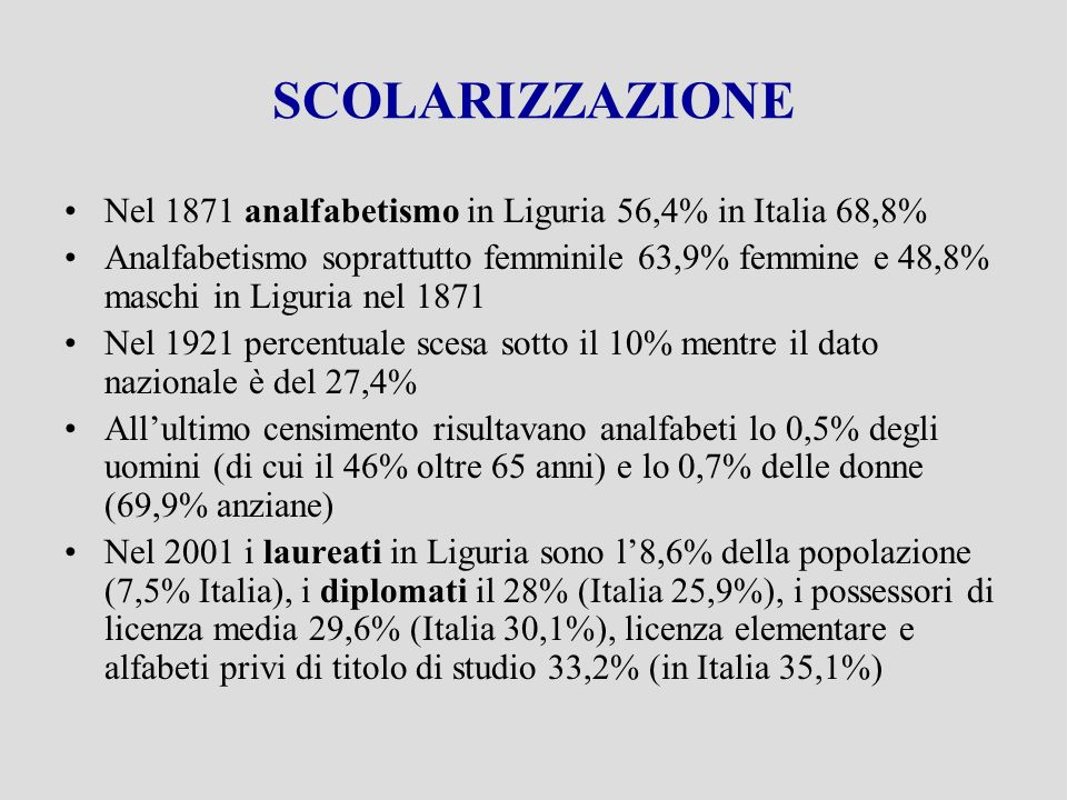 SCOLARIZZAZIONE Nel 1871 analfabetismo in Liguria 56,4% in Italia 68,8% Analfabetismo soprattutto femminile 63,9% femmine e 48,8% maschi in Liguria nel 1871 Nel 1921 percentuale scesa sotto il 10% mentre il dato nazionale è del 27,4% Allultimo censimento risultavano analfabeti lo 0,5% degli uomini (di cui il 46% oltre 65 anni) e lo 0,7% delle donne (69,9% anziane) Nel 2001 i laureati in Liguria sono l8,6% della popolazione (7,5% Italia), i diplomati il 28% (Italia 25,9%), i possessori di licenza media 29,6% (Italia 30,1%), licenza elementare e alfabeti privi di titolo di studio 33,2% (in Italia 35,1%)