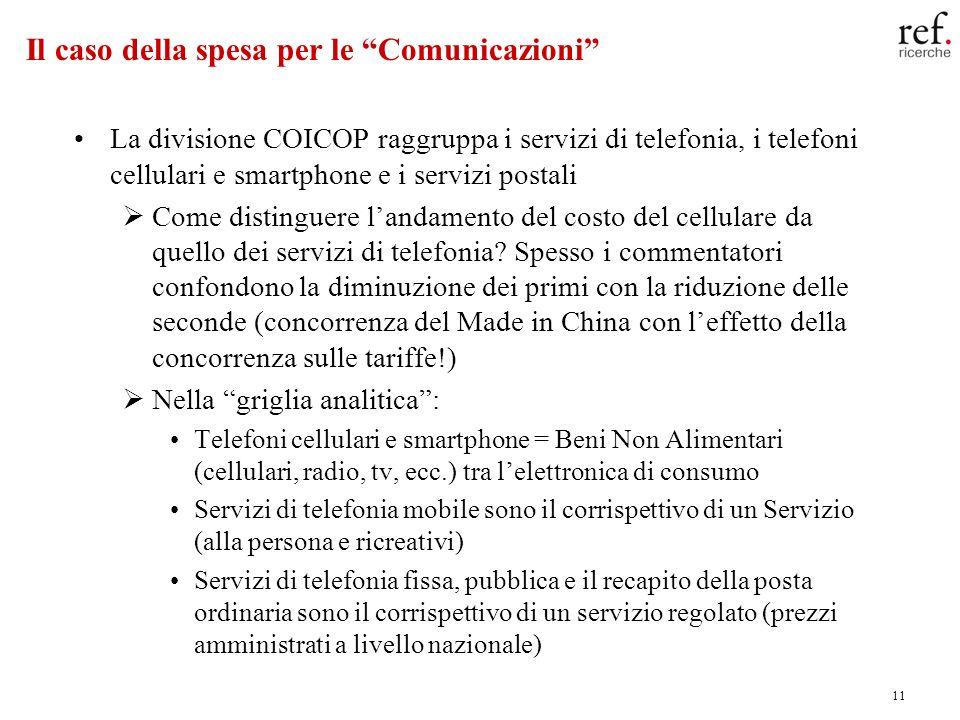 11 Il caso della spesa per le Comunicazioni La divisione COICOP raggruppa i servizi di telefonia, i telefoni cellulari e smartphone e i servizi postal