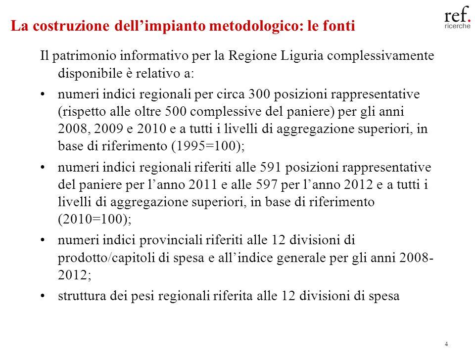 4 La costruzione dellimpianto metodologico: le fonti Il patrimonio informativo per la Regione Liguria complessivamente disponibile è relativo a: numer