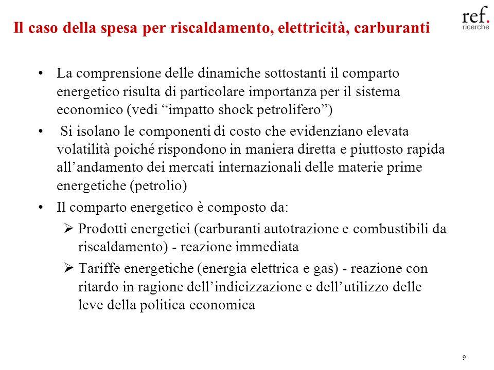 9 Il caso della spesa per riscaldamento, elettricità, carburanti La comprensione delle dinamiche sottostanti il comparto energetico risulta di particolare importanza per il sistema economico (vedi impatto shock petrolifero) Si isolano le componenti di costo che evidenziano elevata volatilità poiché rispondono in maniera diretta e piuttosto rapida allandamento dei mercati internazionali delle materie prime energetiche (petrolio) Il comparto energetico è composto da: Prodotti energetici (carburanti autotrazione e combustibili da riscaldamento) - reazione immediata Tariffe energetiche (energia elettrica e gas) - reazione con ritardo in ragione dellindicizzazione e dellutilizzo delle leve della politica economica