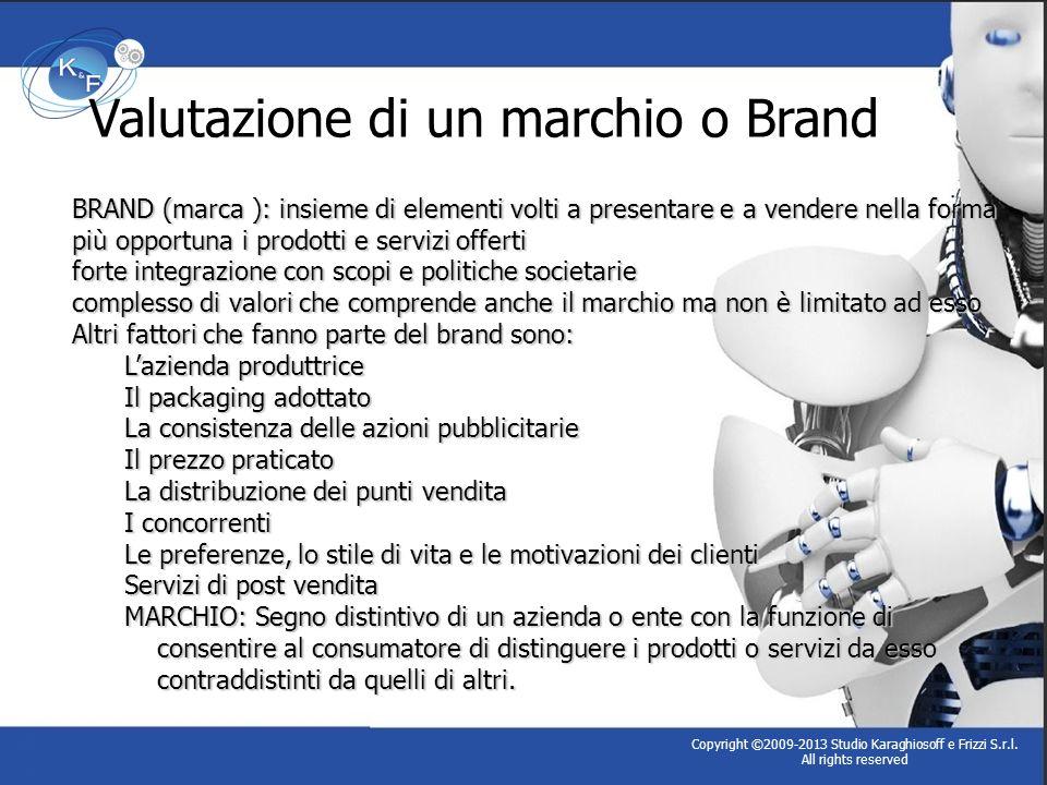 Copyright ©2009-2013 Studio Karaghiosoff e Frizzi S.r.l. All rights reserved Valutazione di un marchio o Brand BRAND (marca ): insieme di elementi vol
