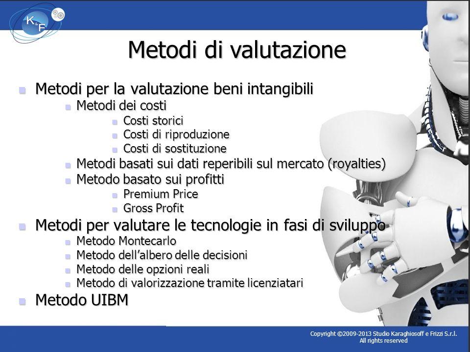 Metodi per la valutazione beni intangibili Metodi per la valutazione beni intangibili Metodi dei costi Metodi dei costi Costi storici Costi storici Co