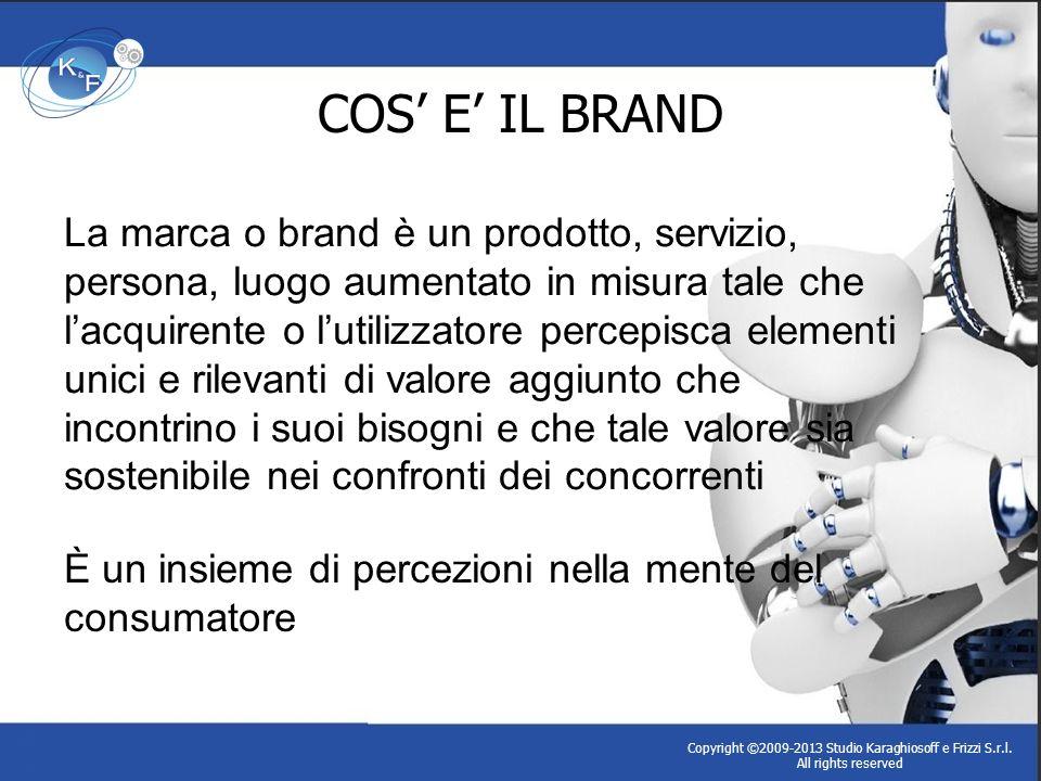COS E IL BRAND Copyright ©2009-2013 Studio Karaghiosoff e Frizzi S.r.l. All rights reserved La marca o brand è un prodotto, servizio, persona, luogo a