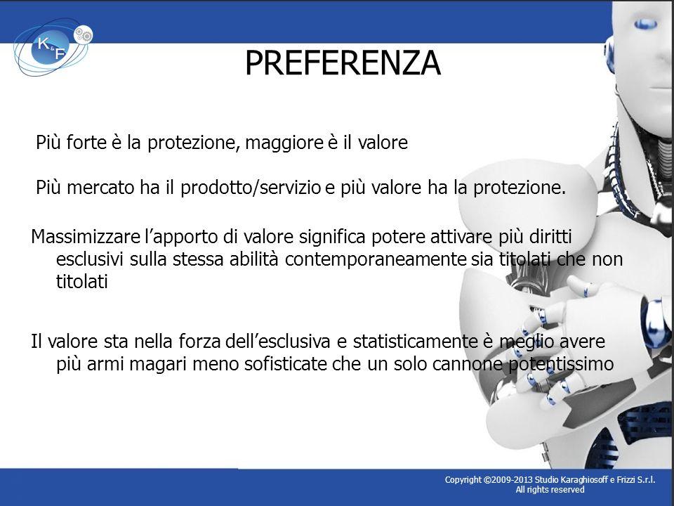 PREFERENZA Copyright ©2009-2013 Studio Karaghiosoff e Frizzi S.r.l. All rights reserved Massimizzare lapporto di valore significa potere attivare più