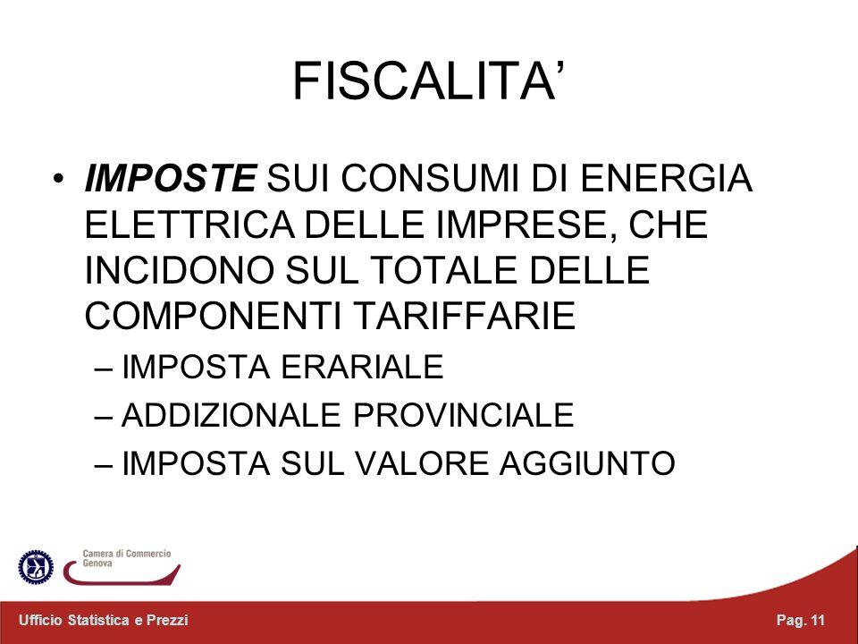 FISCALITA IMPOSTE SUI CONSUMI DI ENERGIA ELETTRICA DELLE IMPRESE, CHE INCIDONO SUL TOTALE DELLE COMPONENTI TARIFFARIE –IMPOSTA ERARIALE –ADDIZIONALE PROVINCIALE –IMPOSTA SUL VALORE AGGIUNTO Pag.
