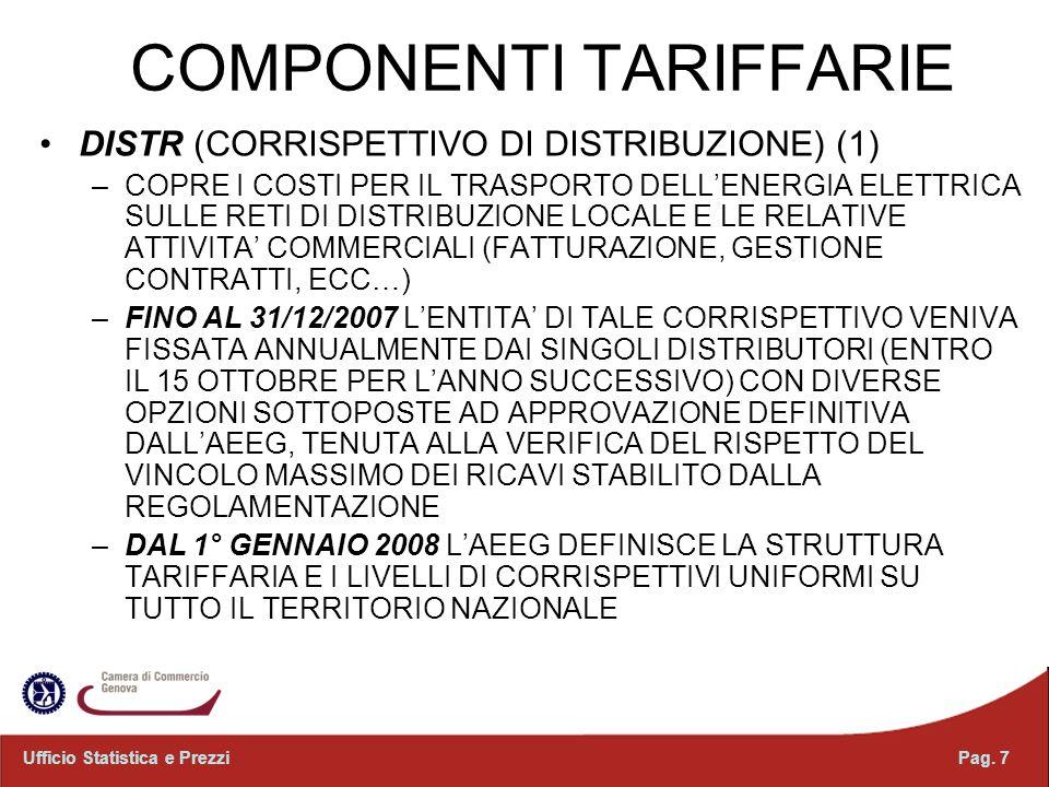 Pag. 7Ufficio Statistica e Prezzi COMPONENTI TARIFFARIE DISTR (CORRISPETTIVO DI DISTRIBUZIONE) (1) –COPRE I COSTI PER IL TRASPORTO DELLENERGIA ELETTRI
