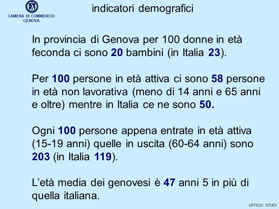 CAMERA DI COMMERCIO GENOVA UFFICIO STUDI.