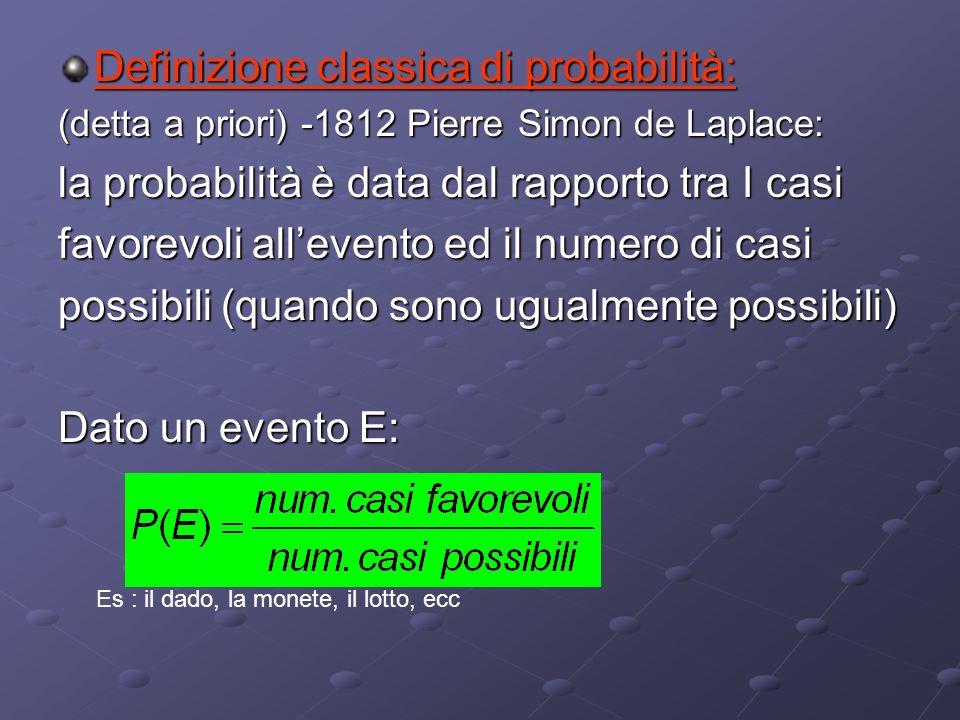 Interpretazioni della probabilità Esistono varie scuole su come definire la probabilità: - Classica - Frequentista - Soggettivistica - Assiomatica