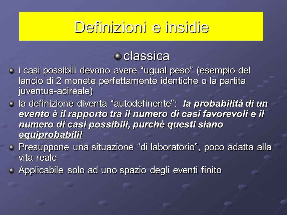 Concezione soggettivista: 1931 Bruno de Finetti La probabilità di un evento è la misura della fiducia che un individuo razionale e coerente attribuisc