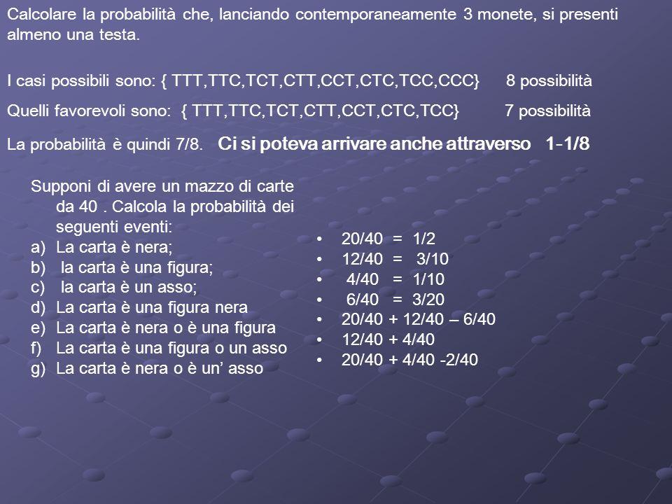 x combinazioni possibilip(x) 2 1,1 1/36 3 1,22,1 2/36 4 2,23,11,3 3/36 5 2,33,24,11,4 4/36 6 3,34,22,45,11,5 5/36 7 3,44,35,22,56,11,6 6/36 8 4,45,33,