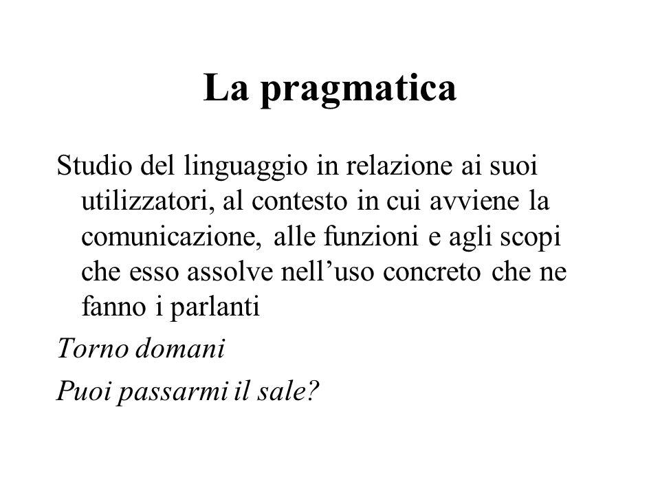 La pragmatica Studio del linguaggio in relazione ai suoi utilizzatori, al contesto in cui avviene la comunicazione, alle funzioni e agli scopi che ess