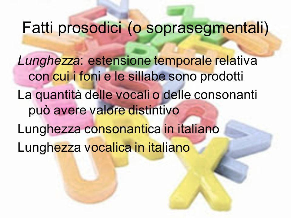 Fatti prosodici (o soprasegmentali) Lunghezza: estensione temporale relativa con cui i foni e le sillabe sono prodotti La quantità delle vocali o dell