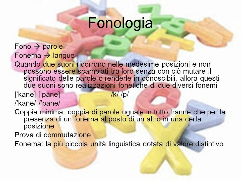 Fonologia Fono parole Fonema langue Quando due suoni ricorrono nelle medesime posizioni e non possono essere scambiati tra loro senza con ciò mutare i