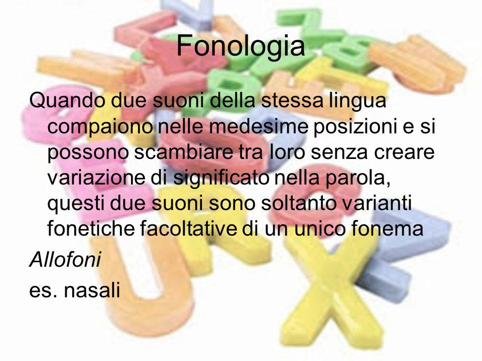 Fonologia Quando due suoni della stessa lingua compaiono nelle medesime posizioni e si possono scambiare tra loro senza creare variazione di significa