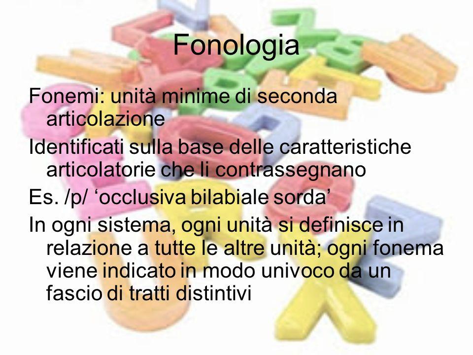 Fonologia Fonemi: unità minime di seconda articolazione Identificati sulla base delle caratteristiche articolatorie che li contrassegnano Es. /p/ occl