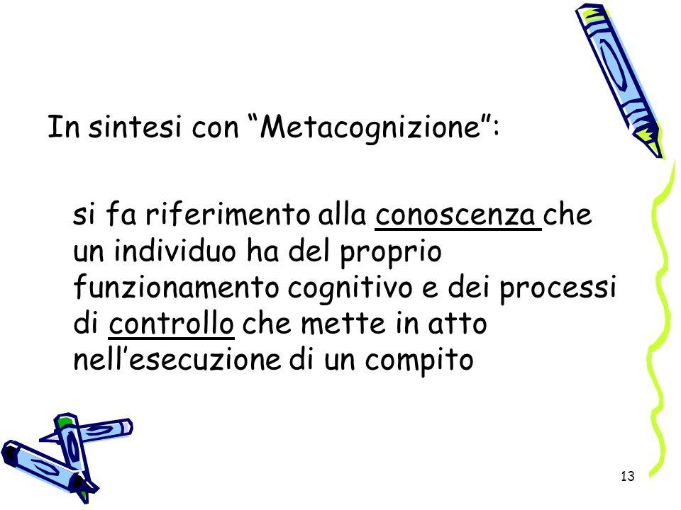 13 In sintesi con Metacognizione: si fa riferimento alla conoscenza che un individuo ha del proprio funzionamento cognitivo e dei processi di controll
