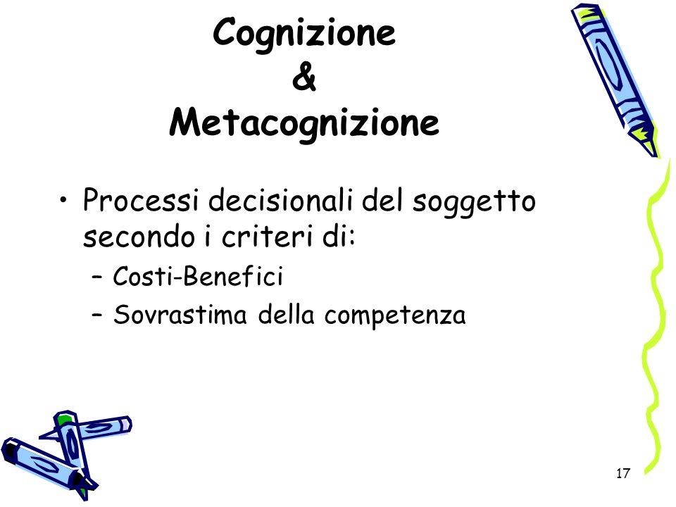 17 Cognizione & Metacognizione Processi decisionali del soggetto secondo i criteri di: –Costi-Benefici –Sovrastima della competenza