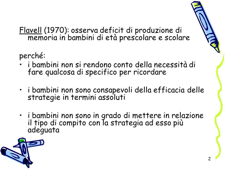 2 Flavell (1970): osserva deficit di produzione di memoria in bambini di età prescolare e scolare perché: i bambini non si rendono conto della necessi