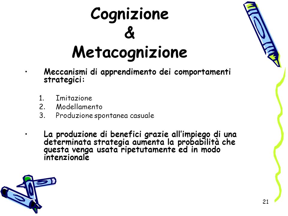 21 Cognizione & Metacognizione Meccanismi di apprendimento dei comportamenti strategici: 1.Imitazione 2.Modellamento 3.Produzione spontanea casuale La