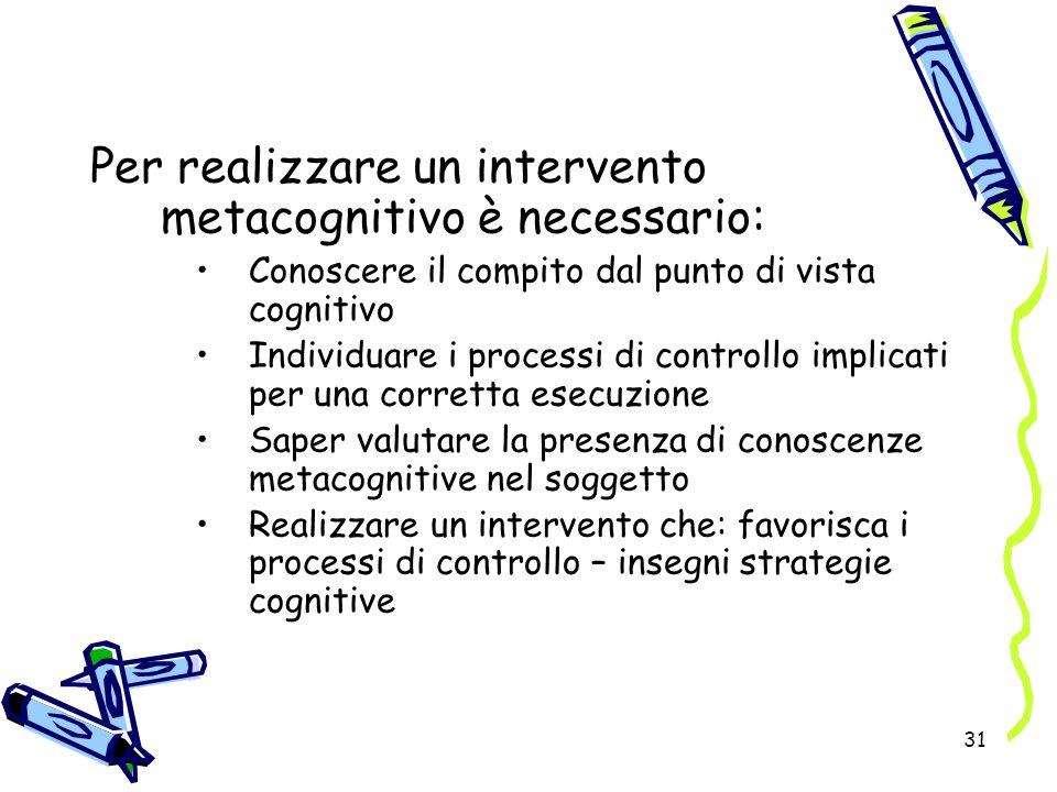 31 Per realizzare un intervento metacognitivo è necessario: Conoscere il compito dal punto di vista cognitivo Individuare i processi di controllo impl
