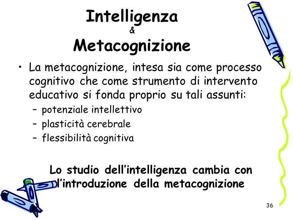 36 Intelligenza & Metacognizione La metacognizione, intesa sia come processo cognitivo che come strumento di intervento educativo si fonda proprio su