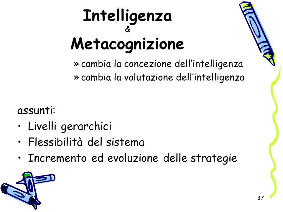37 Intelligenza & Metacognizione »cambia la concezione dellintelligenza »cambia la valutazione dellintelligenza assunti: Livelli gerarchici Flessibili