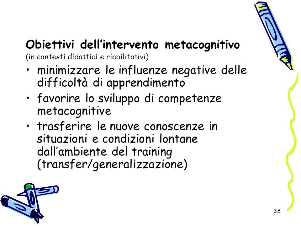 38 Obiettivi dellintervento metacognitivo (in contesti didattici e riabilitativi) minimizzare le influenze negative delle difficoltà di apprendimento