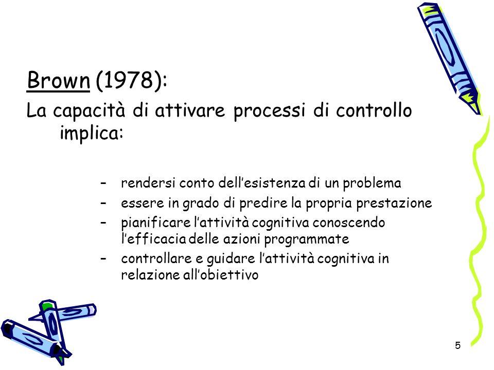 5 Brown (1978): La capacità di attivare processi di controllo implica: –rendersi conto dellesistenza di un problema –essere in grado di predire la pro