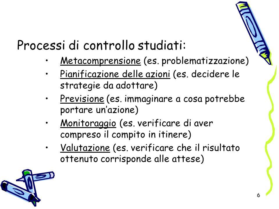6 Processi di controllo studiati: Metacomprensione (es. problematizzazione) Pianificazione delle azioni (es. decidere le strategie da adottare) Previs