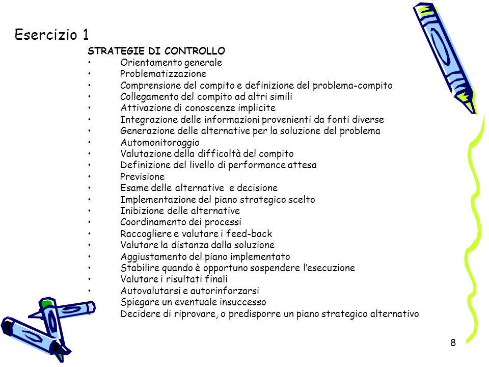 8 Esercizio 1 STRATEGIE DI CONTROLLO Orientamento generale Problematizzazione Comprensione del compito e definizione del problema-compito Collegamento