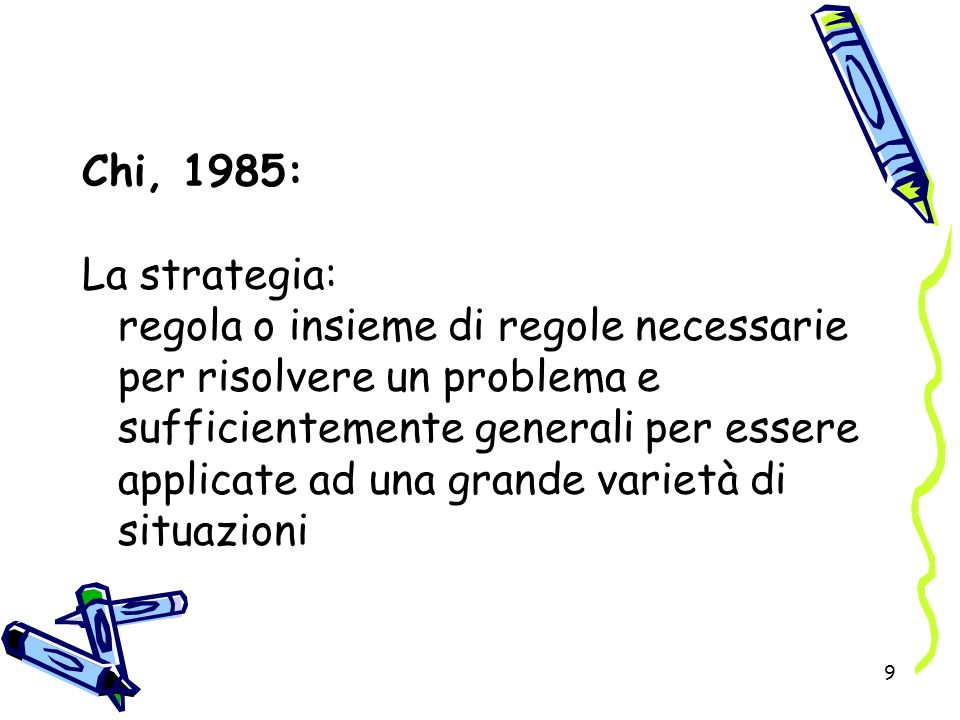9 Chi, 1985: La strategia: regola o insieme di regole necessarie per risolvere un problema e sufficientemente generali per essere applicate ad una gra