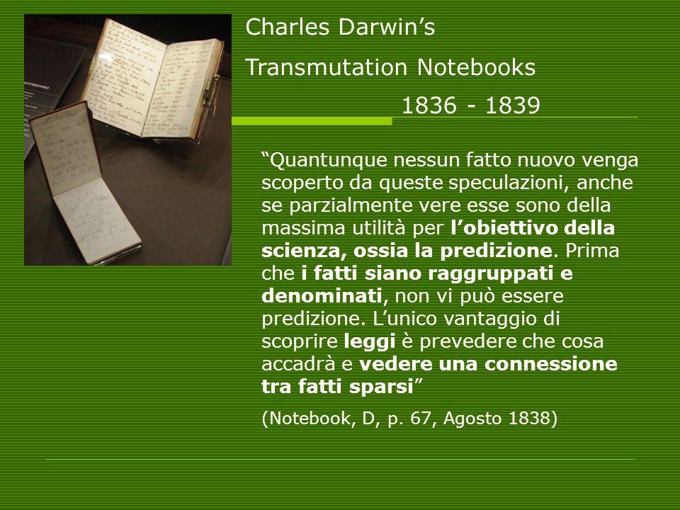 Charles Darwins Transmutation Notebooks 1836 - 1839 Quantunque nessun fatto nuovo venga scoperto da queste speculazioni, anche se parzialmente vere esse sono della massima utilità per lobiettivo della scienza, ossia la predizione.