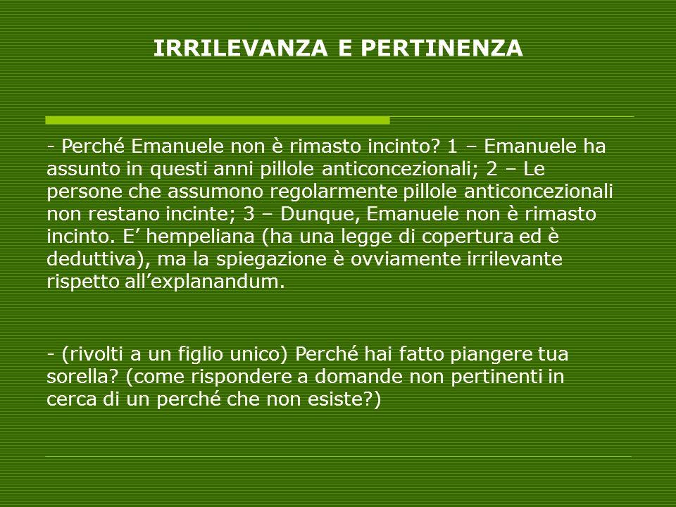 IRRILEVANZA E PERTINENZA - Perché Emanuele non è rimasto incinto.