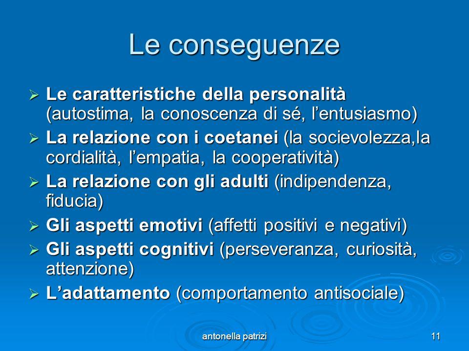 antonella patrizi11 Le conseguenze Le caratteristiche della personalità (autostima, la conoscenza di sé, lentusiasmo) Le caratteristiche della persona