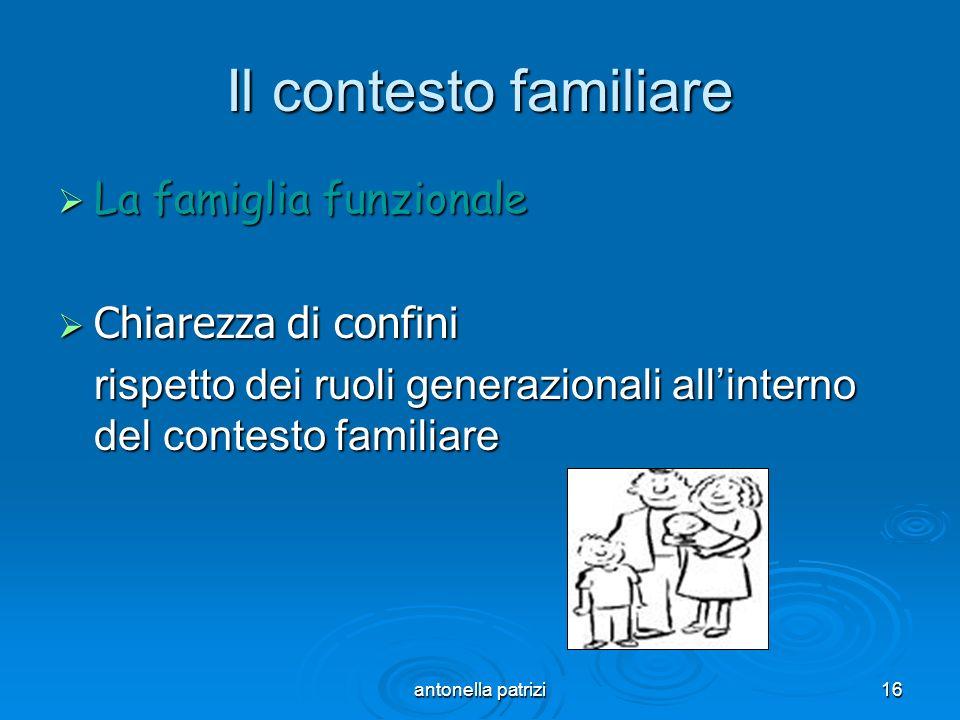antonella patrizi16 Il contesto familiare La famiglia funzionale La famiglia funzionale Chiarezza di confini Chiarezza di confini rispetto dei ruoli g