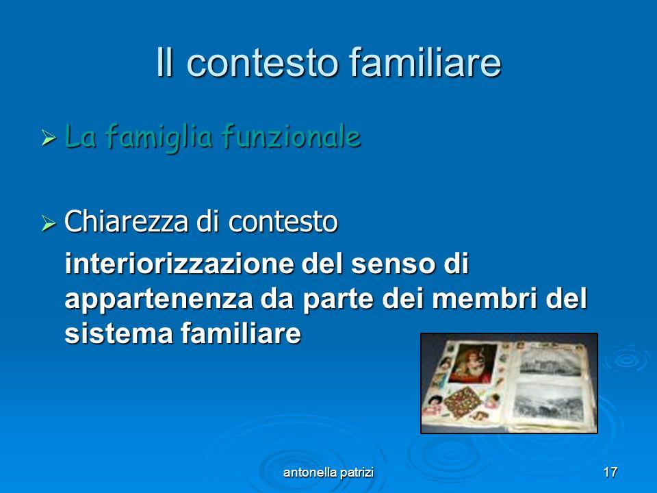 antonella patrizi17 Il contesto familiare La famiglia funzionale La famiglia funzionale Chiarezza di contesto Chiarezza di contesto interiorizzazione