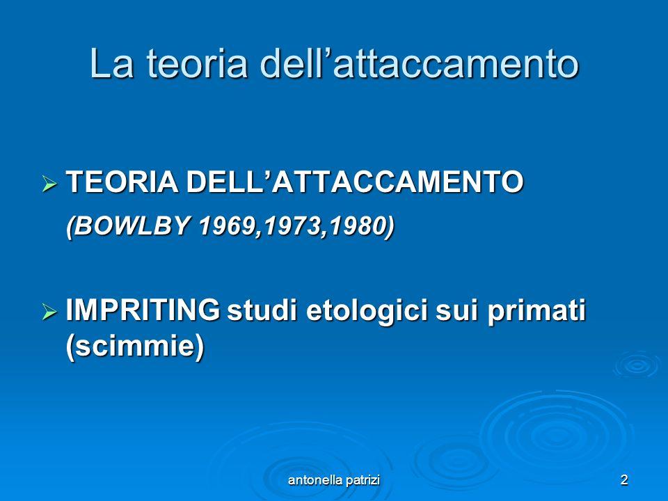 antonella patrizi2 La teoria dellattaccamento TEORIA DELLATTACCAMENTO TEORIA DELLATTACCAMENTO (BOWLBY 1969,1973,1980) IMPRITING studi etologici sui pr