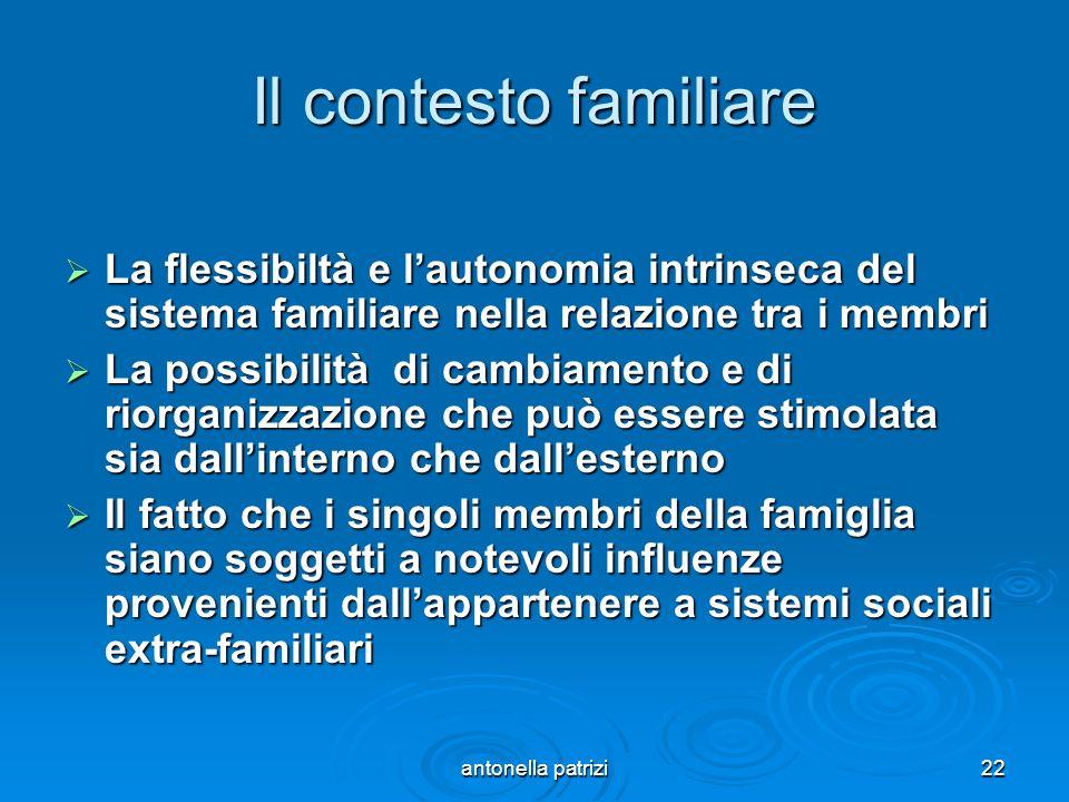antonella patrizi22 Il contesto familiare La flessibiltà e lautonomia intrinseca del sistema familiare nella relazione tra i membri La flessibiltà e l