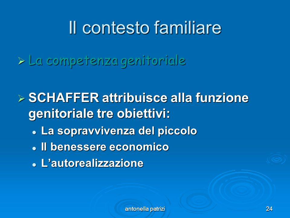 antonella patrizi24 Il contesto familiare La competenza genitoriale La competenza genitoriale SCHAFFER attribuisce alla funzione genitoriale tre obiet