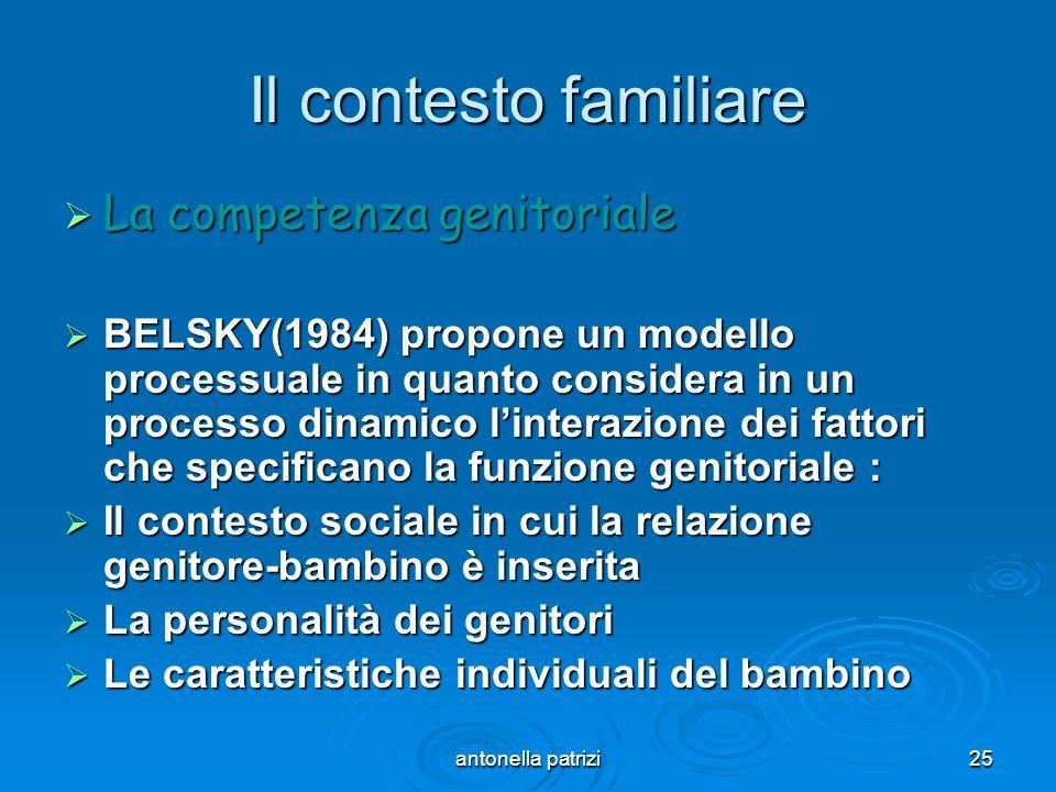 antonella patrizi25 Il contesto familiare La competenza genitoriale La competenza genitoriale BELSKY(1984) propone un modello processuale in quanto co